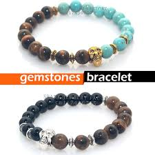 natural stone beaded bracelet images 2015 natural stones skull bead bracelet tiger eye stone beads men jpg