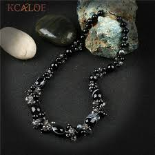 beaded charm necklace images Kcaloe austria crystal handmade charm necklace black semi precious jpg