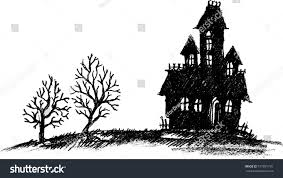 House Silhouette by Hand Drawn Halloween Haunted House Silhouette Stock Vector