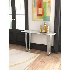 brushed stainless steel console table zuo atlas stone and brushed stainless steel console table 100709