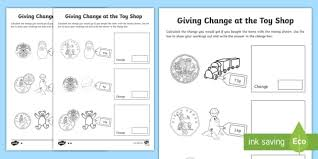 ks1 maths giving change at the toy shop activity sheets money
