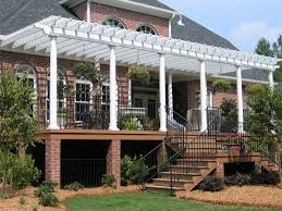 Deck Pergola Ideas by Attached White Pergola On Stately Home Design Ideas Archadeck