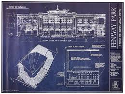 amazon com fenway park blueprint print ballpark blueprint