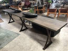 custom wood dining tables custom wooden dining table w metal base bd antiques