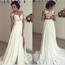 wedding dresses shop online a line lace appliqued cap sleeves prom dresses ivory chiffon