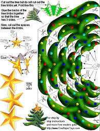 christmas tree free paper toy template sliceform pinterest
