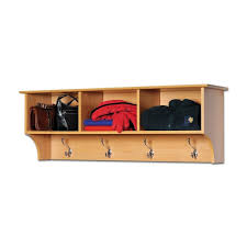 furniture wooden coat rack with three open shelf and steel hook