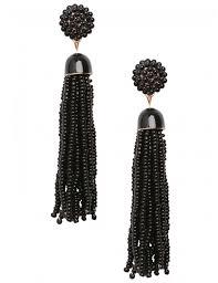 black earrings misbehaving beaded detail tassel earrings in black lamoda