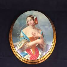 lady with pearl necklace images Vintage painting of dutch lady with pearl necklace in gilt one jpg