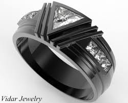 black mens wedding ring men s wedding band black gold triangle moissanite wedding