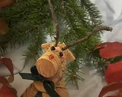 wine cork reindeer etsy