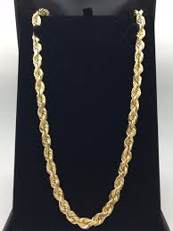solid yellow gold necklace images 14k solid yellow gold 26 quot rope chain diamond cut link chain JPG