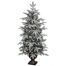 shop ge 4 5 ft pre lit aspen fir flocked artificial christmas tree
