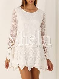 14 59 long sleeve crochet knee length lace dress clothing
