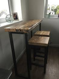 Industrial Bar Table Industrial Mill Style Reclaimed Wood Breakfast Bar Two Stools