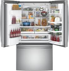 French Door Refrigerator Without Water Dispenser - ge pfe28kskss 36 inch french door refrigerator with twinchill