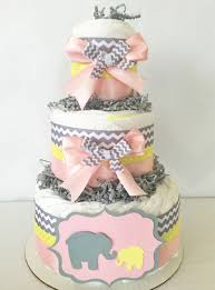 chevron pink gray and yellow elephant diaper cake elephant
