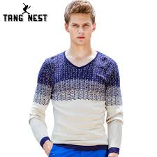 tangnest 2018 new arrival v neck patchwork cool sweater