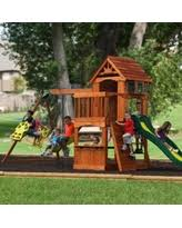 Backyard Discovery Monticello Get The Deal Big Backyard Windale Wooden Cedar Swing Set