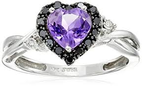 black and purple engagement rings 10k white gold shaped amethyst with black
