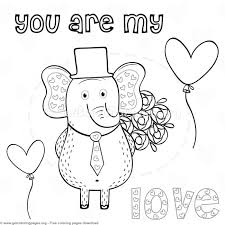 elephant love coloring page elephant in love you are my love heart coloring pages
