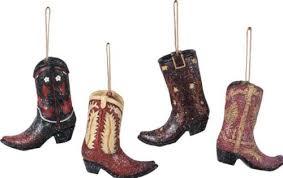 ornaments resin cowboy boots set of 4