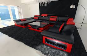 Designer Sectional Sofas by Leather Sectional Sofa Enzo Xxl Black Red Ebay
