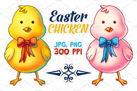 easter chicken cartoon character illustrations creative market