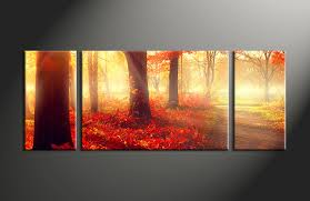 Home Decor Canvas Art by 3 Piece Red Autumn Scenery Canvas Wall Decor