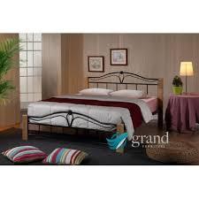 Wood And Metal Bed Frame Thiago Bed Frame Wood Metal Bed Black Metal Wood Posts