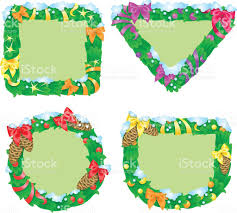 Christmas Tree Picture Frames Four Shapes Of Banners With Fir Frames In Cartoon Style Stock