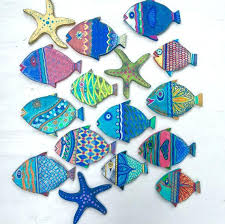 fish wall paper painted wooden fish wall bearister me