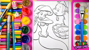 colouring ariel flounder little mermaid coloring pages for kids