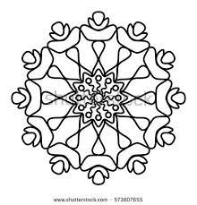 simple floral mandala pattern coloring book stock vector 573807655