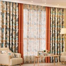 Leaf Design Curtains Orange Leaf Print Polyester Shabby Chic Country Color Block