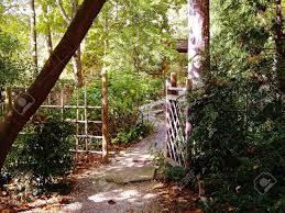 japanese style garden gate at sarah p duke gardens durham