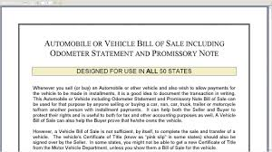 Bill Of Sale Of Vehicle by Automobile Or Vehicle Bill Of Sale Including Odometer Statement