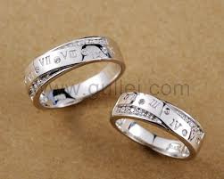 wedding rings with names personalized name promise rings set for men and women personalized