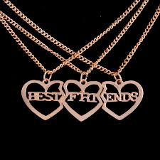 gold friend necklace images Gold planted broken heart 3 parts best friends forever two okay jpg