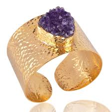 cuff bracelet gold plated images Raw amethyst druzy new fashion jewelry gold plated cuff bangle jpg
