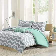 nadia reversible duvet cover set in teal bed bath u0026 beyond