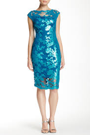 adrianna papell cap sleeve illusion sequin lace cocktail dress