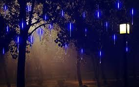 outdoor string lights rain amazon com alkbo blue color meteor shower rain lights waterproof