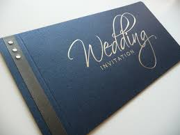 navy u0026 silver foiled cheque book wedding invitation with charcoal