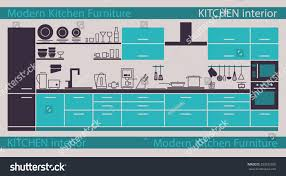 modern kitchen interior vector kitchen cabinets stock vector