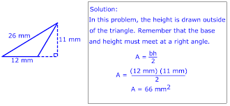 area of triangles using base and height