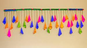 Hanging Wall Decor by Diy Very Easy Handmade Door Hanging Toran Paper Cone Crafts