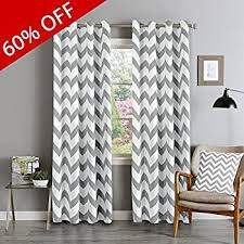 Gray And White Chevron Curtains Amazon Com Hlc Me Chevron Print Thermal Insulated Blackout Window