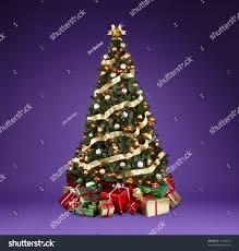 beautifully decoratedmas tree lights ribbons stock