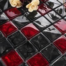 luxury black red glass mosaic tile kitchen backsplash bathroom